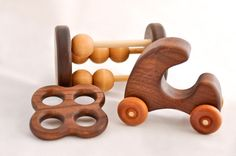 Perfect Baby Shower GiftWalnut Wooden Toys by asummerafternoon, $45.00
