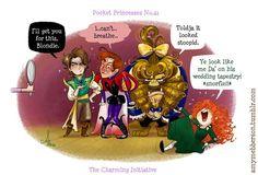 Pocket Princesses by Amy Mebberson  # 41-If Disney princesses lived together: Some of the princes and Merida