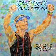 Capture YOUR Moment at http://www.vivsart.com/  Allow us to create a beautiful gift for your triathlete #Triathlon #TriathlonGifts  #SportsArt #Marathon