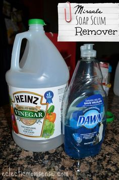 Miracle Soap Scum Remover- just spray, wait, rinse.  No effort to a clean white shower.