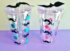 Polka Dot Mustache Tumbler Cup by LaBoutique254 on Etsy, $11.95