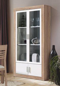 Vitrina para salón/comedor, color roble claro combinado con blanco