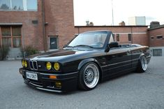 It's a BMW on the outside, with a BMW engine (likely a out of an but it's not clear) on the inside. Bmw E30 Cabrio, Bmw E30 320i, 325i E30, Bmw E30 Convertible, Blacked Out Cars, Mercedes Black, Bmw Old, Bmw Vintage, Bmw Classic Cars