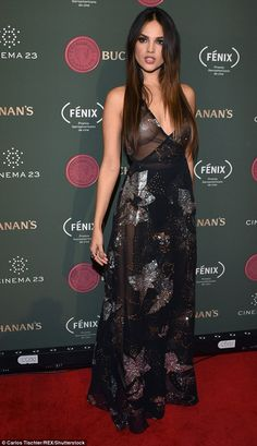 Stunner: Actress Eiza Gonzalez turned heads with her very revealing sheer dress as she walked the red carpet at the Buchanan's Film Awards in Mexico City on Wednesday night