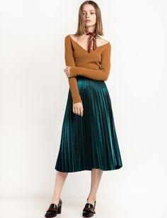 Metallic Green Pleated Midi Skirt