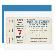 "Sports Star Bar Mitzvah Save the Date Card, Blue 4.25"" X 5.5"" Invitation Card"