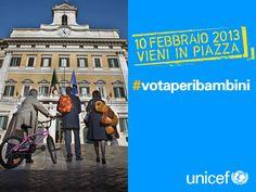 Il 10 febbraio scendi in piazza con UNICEF. Vota per i diritti dei bambini in Parlamento. www.unicef.it/votaperibambini