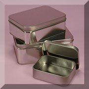 Rectangular Tin Cans can be used for storing and giving solid lotion bars, home made lip gloss, etc.