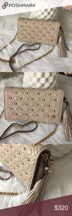 4262f6687c29 NWT Tory Burch Fleming Stud Flat Wallet Crossbody So lovely! Color is Shell  Pink. Brand new with tag