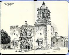 san jose mission, san antonio, tx  from the shade on a hot October afternoon blogged at Urban Sketchers