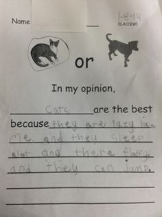 Opinion Writing in Kindergarten: Dr. Clements' Kindergarten: Student writing samples