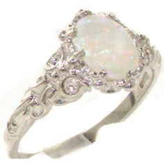 Luxurious Solid Sterling Silver Natural Opal Womens Solitaire Ring - Finger…