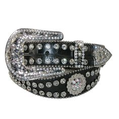 Western Rhinestone Berry Burst Scalloped Belt by CTM. Removable Detailed buckle with rhinestones