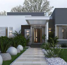 Modern House Facades, Modern House Plans, Modern House Design, Home Building Design, Building A House, Modern Exterior, Exterior Design, Village House Design, Luxury Homes Dream Houses