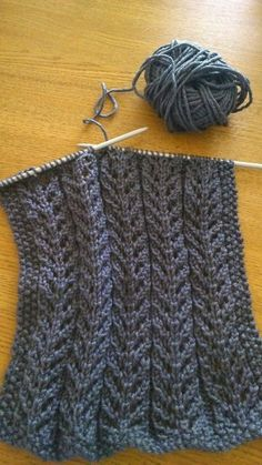 Birch Tree Scarf free knitting pattern link. Mine is being knitted in Debbie Bliss Cashmerino DK charcoal (will need 4 x 50g balls)