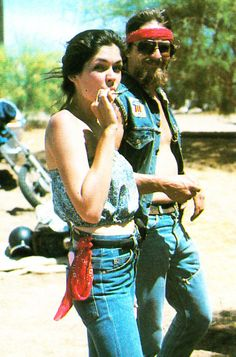 beautiful vintage biker couple man woman bikers beard beards men smoking joint 420 1970s photo retro