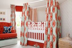 "Q: Our next baby's ""nursery"" will be blended into our own master bedroom. I am considering partitioning off the crib with ceiling-to-floor, room-dividing blackout curtains, and am in search of both photos of similar arrangements and tips for doing so successfully. Of particular concern is how far the curtains should be from the crib for safety considerations, and exactly how to hang them in a way that will be especially quiet when opened and cl"
