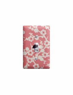 Cherry Blossom Light Switch Plate / Pink Baby Girl Nursery Wall Decor / Cream White on Etsy, $16.00