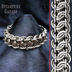 Bracelet - Heavy Duty Steel - 12 gauge King's Scale Weave Men's Chainmaille aka Garter Belt