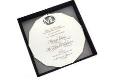 www.intricatecreations.co.uk - Diamond Love - Laser-Cut and Engraved Mirror Invitation - Monogram Invitation - Perspex Invitation - Acrylic Invitation