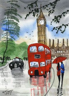 Original Signed Watercolour Painting ~ Red Bus, Rainy Day London By KJ CARR