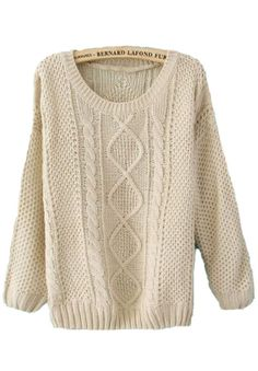 Beige Round Neck Broken Stripe Cable  Sweater, this looks so comy.