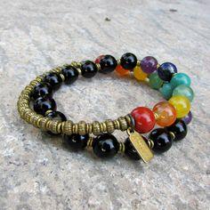 chakra, onyx and chakra gemstones 27 bead wrap mala bracelet™ – Lovepray jewelry