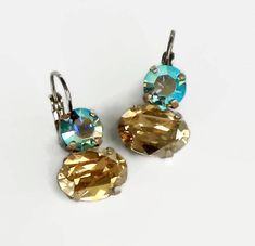 Swarovski Crystal golden shadow and aquamarine AB 14X10mm oval fancy stone leverback drop earrings