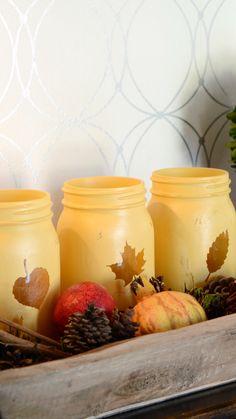Fall Mason Jars, Mason Jar Crafts, Pumpkin Crafts, Fall Crafts, Diy Crafts, Thanksgiving Traditions, Thanksgiving Crafts, Leaf Stencil, Scary Decorations