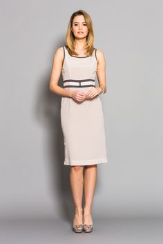 The perfect wedding guest dress, in a beautiful blush hue with contrast grey detailing designed to flatter.  Contrast Trim Shift Dress by Karen Cole