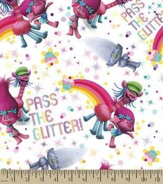 "DreamWorks Trolls Cotton Fabric 43""-Pass the Glitter"
