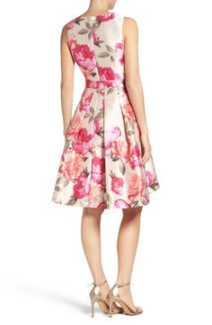 Main Image - Eliza J Floral Mikado Fit & Flare Dress (Regular & Petite) Beautiful Summer Dresses, Elegant Dresses, Pretty Dresses, Casual Dresses, Mob Dresses, Girls Dresses, Floral Dresses, Fit Flare Dress, Fit And Flare