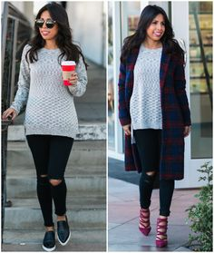 day to night holiday outfit, how to wear oversized sweater, plaid coat
