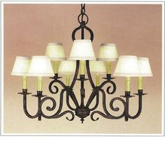 """9042  NINE LIGHT TWO TIER IRON CHANDELIER FINISH SHOWN: INDIAN SUMMER SHADE: 3X5X4 WITH ANTIQUE PAPER CANDLES MAXIMUM WATTAGE: 540 CANDELABRA BASE SOCKETS HT 24"""" W 29"""""""