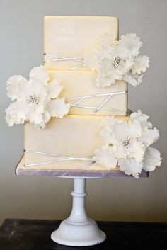 Yellow and Silver Cake with Flowers