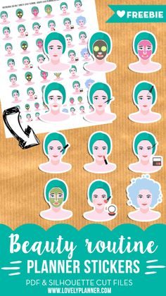 FREE beauty routine planner stickers to keep track of your beauty events and plan future tasks. PDF and silhouette cut file.
