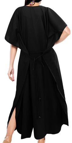 Maternity Outfits - machine washable maternity dresses   LA LEELA PV Solid  Long Caftan Resort Dress Women Black 834 OSFM 1428W  L4X      Click image  for ... 573360f8a79