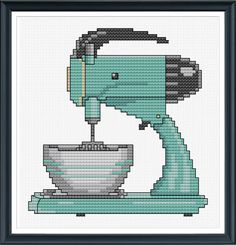 Retro Kitchen Mixer Cross Stitch Pattern Instant by tinymodernist