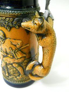 Beer Stein Fox Handle Blue Brown Boar Pig Hunt Pewter Lid 3D Relief Pottery