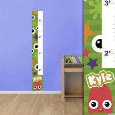 Restickable Monster Growth Chart #BedroomDesign #WallGraphics #KidsRoom #Customized #GrowthChart #Bedroom #Monsters