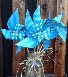 36 Vibrant Blue Paper Pinwheels  Blue with by PinwheelPerfection