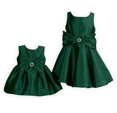 Green Holiday Classic Party Dress A beautiful holiday party dress in rich green poly taffeta shantung. Large decorative bow with rhinestone circle slider accents slightly raised waist. Girls Special Occasion Dresses, Girls Dresses, Summer Dresses, Baby Dresses, Long Dresses, Holiday Party Dresses, Wedding Party Dresses, Toddler Girl, Clothes