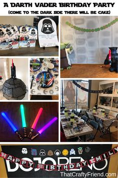 ​We threw a Star Wars Darth Vader themed birthday party for my daughter's birthday. See the decorations, food, costumes, and light sabers! Star Wars Party Decorations, Balloon Decorations Party, Light Decorations, Birthday Party Decorations, Party Table Centerpieces, Star Wars Birthday, 5th Birthday, Birthday Gifts For Kids, Birthday Ideas