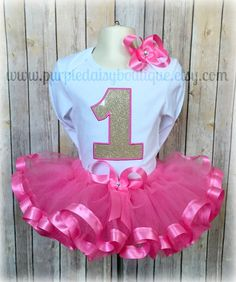 Hot Pink and Gold Birthday Ribbon Trim Tutu by PurpleDaisyBoutique