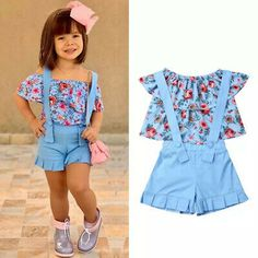 pudcoco 2019 Children Clothing Suits For Girls Clothes Kids Toddler Enfant Fille Infantis Outfits Flower Blouse Summer Ropa de niña, Girls Summer Outfits, Dresses Kids Girl, Cute Outfits For Kids, Baby Outfits, Toddler Outfits, Baby Dresses, Dress Girl, Toddler Dress, Baby Dress Design