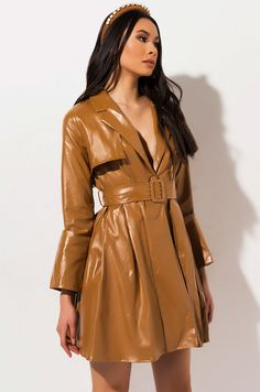 notch collar belted long sleeve trench coat by AKIRA Jean Sandals, Leather Trench Coat, Akira, Snug Fit, Vegan Leather, Turtle Neck, Shirt Dress, Long Sleeve, Sleeves