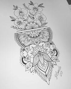 Sunflower Mandala Tattoo, Mandala Tattoo Sleeve, Mandala Flower Tattoos, Mandala Tattoo Design, Tattoo Sleeve Designs, Flower Tattoo Designs, Geometric Flower Tattoos, Mandala Tattoos For Women, Shin Tattoo