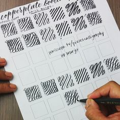Drill Boxes ~ Practice with Brush Pen About this drill: ✔Focus on even spacing between your thick downstrokes. ✔Position your arm so it is parallel to the page. Lefties, same to you, too. Just be sure to