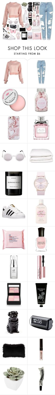 """""""Pretty n Pink #2"""" by madeleinebabes ❤ liked on Polyvore featuring Topshop, Sephora Collection, Christian Dior, The Row, Selfridges, Byredo, BP., adidas, Crabtree & Evelyn and The Body Shop"""