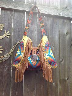 Southwestern  Thunderbird Tooled Leather Art Handbag using